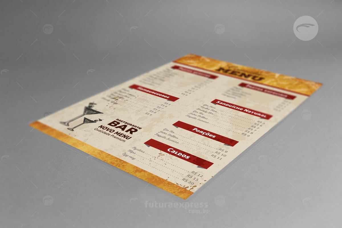 Cardápio Plastificado A3, A4 e A5 Cod: 194