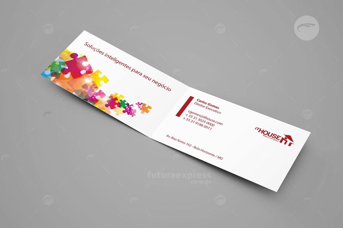 Cartão de Visitas Duplo Horizontal