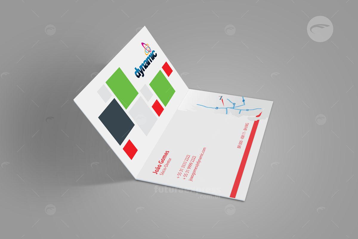 Cartão de Visitas Duplo Vertical